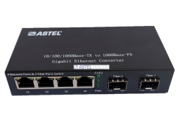 Media Converter 4 Port Ethernet to Fiber 2 Gigabit  SFP Slots